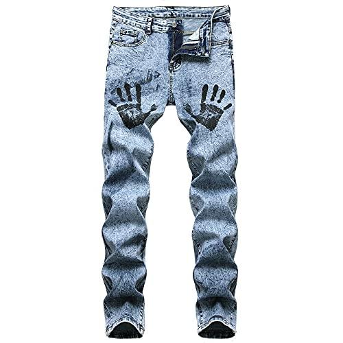 WQZYY&ASDCD Jeans Vaqueros Pantalon Denim Hole Jeans Rasgados para Hombres Hip Hop Punk Streetwear 29Winch 93010