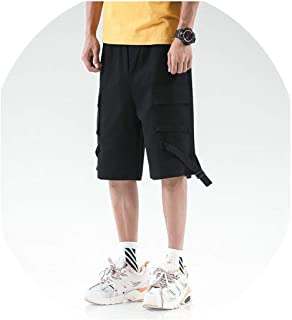 Western Stylish Men Jogging Short Trousers Solid Ribbons Casual Workout Cargo Shorts Male Multi Pocket Hip Hop Harem