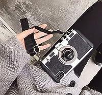 取り外し可能なネックストラップカメラストラップを装備した、iPhone 12 Promaxミニレトロカメラ保護ケースに適しています