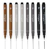 Uni Pin Fineliner Stylo à dessin–esquisse Lot de 8–0,1mm/0.5mm–Noir, Gris foncé, gris clair, et Sépia