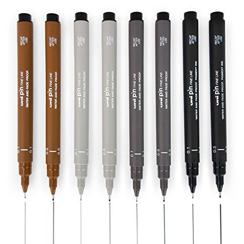"""Juego de 8 bolígrafos de punta fina. La tinta de alta calidad de Uni's """"Super Ink"""" no sólo es resistente al agua y a la luz, sino también a las manipulaciones, lo que significa que la tinta no se puede lavar con productos químicos y soluciones utiliz..."""