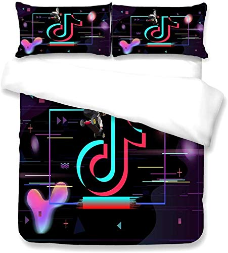 YOMOCO tiktok duvet cover, 100% polyester fibre, one duvet cover and 2 pillowcases with zip (A04.140 x 210 cm + 80 x 80 x 2)