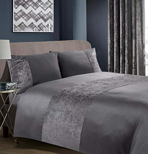 RayyanLinen RAYYAN LINEN Crushed Velvet Duvet Cover Bedding Set with Pillowcases in Charcoal Grey or Grey Silver (Lancaster Charcoal Grey, DOUBLE)