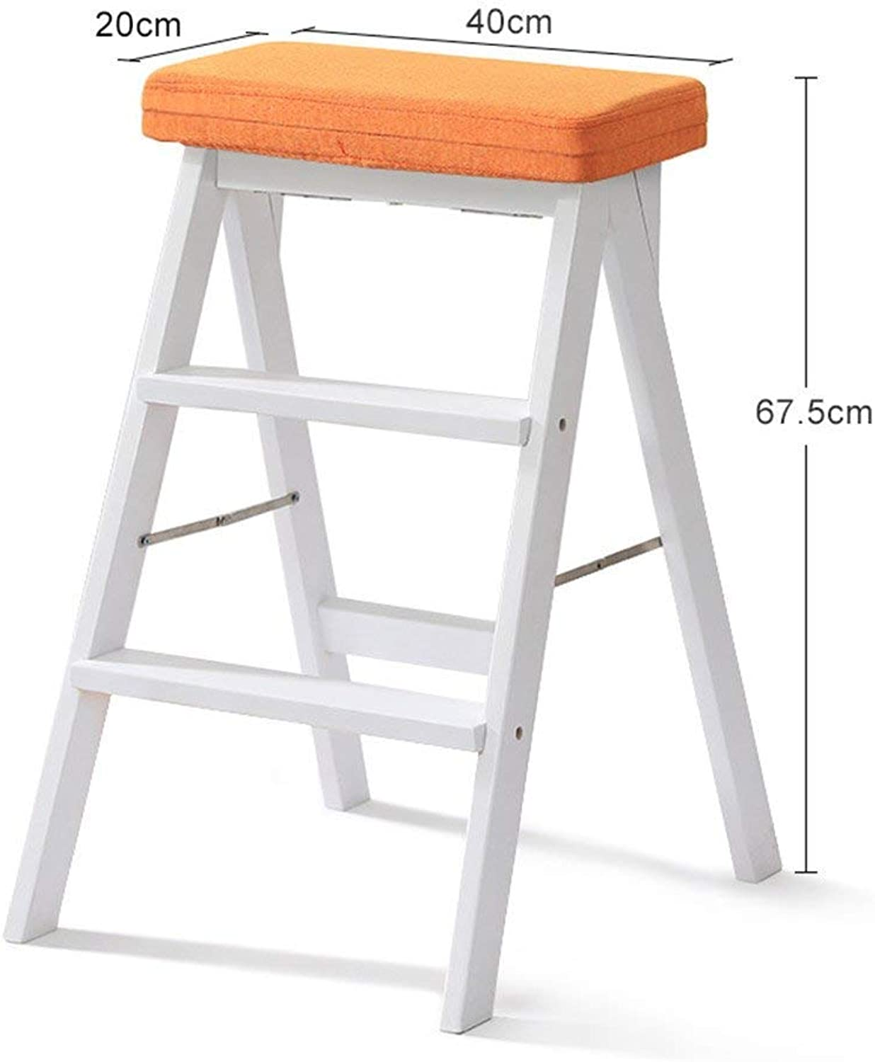 HOME Simple White Folding Stool   3 Step Stool Portable Mobile Chair Multi-Function Kitchen high Stool and Table Step on Both Sides with Washable seat Cover