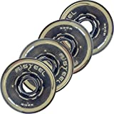 Revision Variant Steel Indoor/Outdoor Inline Roller Hockey Wheels - 78A - 72mm 4 Pack - Black