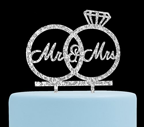 Mr & Mrs Cake Topper ,Bride and Groom Cake Topper, Wedding Anniversary Rings , Engagement Party Decorations (Silver)