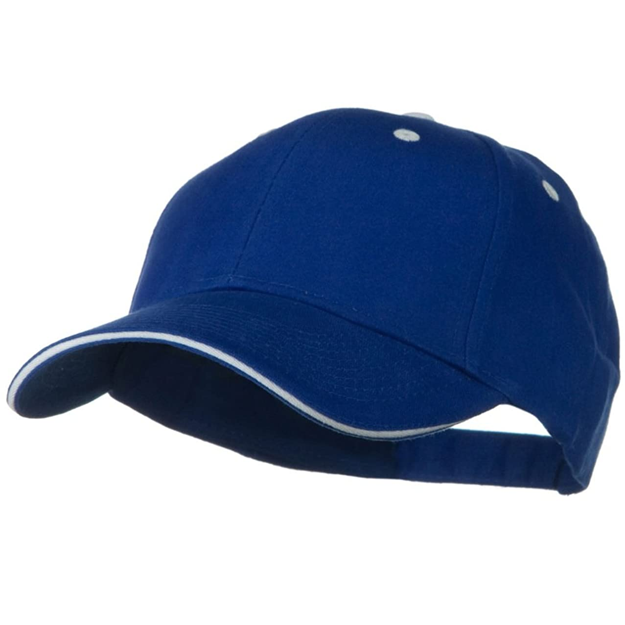 OTTO Solid Brushed Twill Sandwich Visor Cap - Royal White