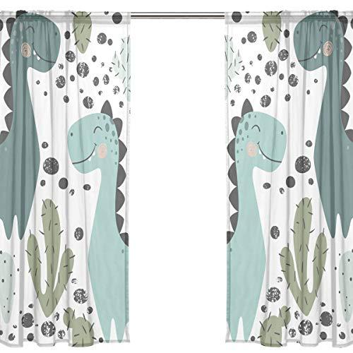 Orediy Vorhang aus Voile, 2 Paneele, Dinosaurier und Kaktus, 40 % Verdunkelungsstange, lange Gardine, Fensterbehandlung, Schlafzimmer, Wohnzimmer, 2* 140W x 213 H