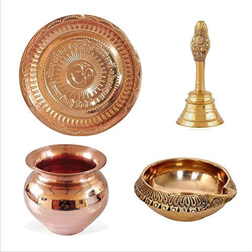 Siddhratantm Handmade Copper Hindu Puja Thali con OM simbolo e Gayatri Mantra/ /Decoration/ /Spiritual Gifts /Mandir Temple Accessory/