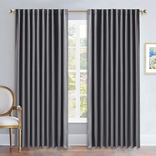 NICETOWN Blackout Curtain Panels Window Draperies - (Grey Color) 70x84 inch, 2 Pieces, Insulating Room Darkening Blackout Drapes for Bedroom