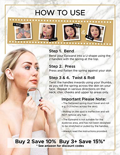 Epiwand Facial Hair Epilator For Women - Effectively Remove Unwanted Face Hair Without The Use of Tweezers or Expensive Laser Treatment, Waxing & Threading Systems - Includes Gift Box & Instructions