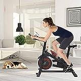 Bicicleta de ejercicio, bicicleta estacionaria para interiores, bicicleta de ciclismo para el hogar, cardio, gimnasio, cinturón de transmisión de entrenamiento con volante de inercia de 35 libras, marco engrosado, versión mejorada, para entrenamiento cardiovascular en el hogar