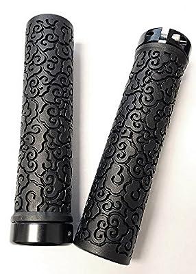 """VELO Rubber Handlebar Grips with Alloy Ring, Length: 130mm, Handlebar Diameter: 22.2mm(7/8""""), BMX, Beach Cruiser Bikes, VLG-1320AD2-L1 (Black/Black)"""
