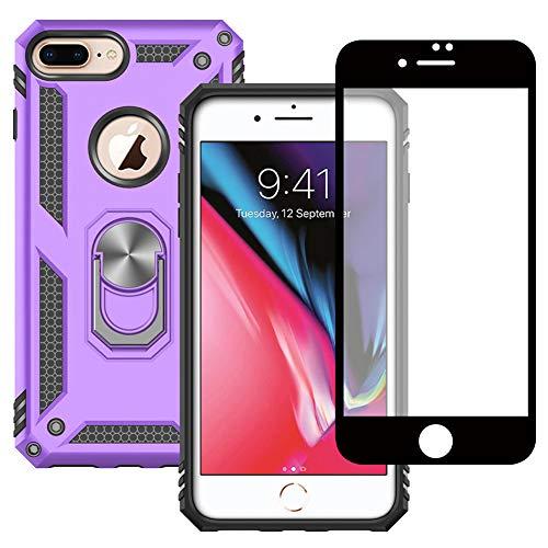 Yiakeng Funda Apple iPhone 7 Plus / 8 Plus New Edition Carcasa con Protector Pantalla Cristal Templado, Silicona Armor Case con Kickstand para Apple iPhone 7 Plus / 8 Plus (Púrpura)