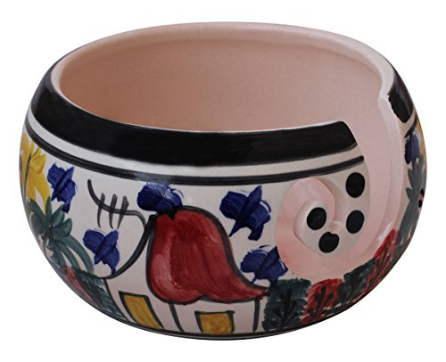 DEALS OF THE DAY - abhandicrafts - 7 Inch Handcrafted Ceramic Knitting Yarn Bowl, Yarn Storage, Stop Yarn From Rolling, Knitting and Crochet Yarn Holder