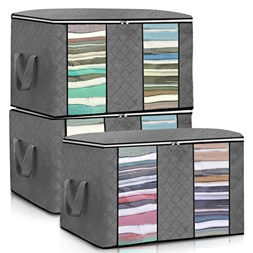 """senbowe Larger Storage Cubes [4-Pack] Linen Fabric Foldable Collapsible Storage Cube Bin Organizer Basket with Lid, Handles, Removable Divider for Home, Nursery, Closet - (17.7 x 11.8 x 9.8"""")"""