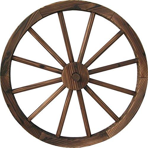 DDI QD-LFNB-W30W Holz-Wagenrad, gebranntes Holz, 76,2 cm