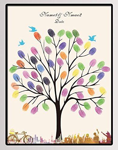 NOVAGO Tableau (Toile) à Empreintes pour Les invités pour Les événements comme Mariage, Anniversaire, baptême, Communion. (Deux Cartouches colorées offertes) (30x40 cm, Arbre)