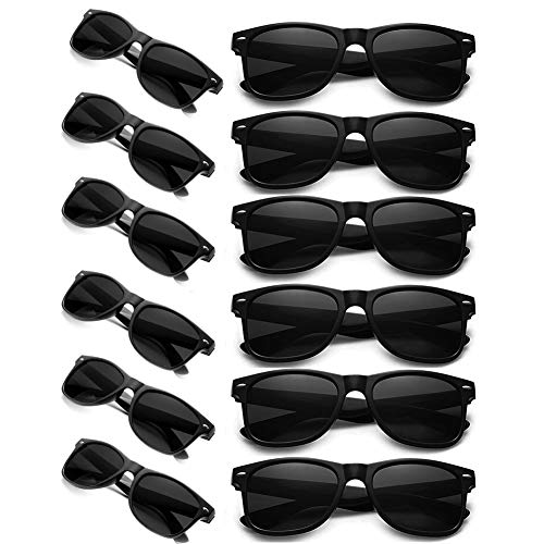 12 Retro Wayfarer Black Business Sunglasses Wholesale Party Pack Graduation Shades Eyewear For Party Prop Favors, Decorations, Toy Gifts