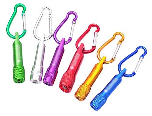 BIGBOBA - Lot de 6 Mini Porte-clés Lumineux - avec Lampe Torche - À Pile - pour Les Activités en Plein air - Couleur Aléatoire