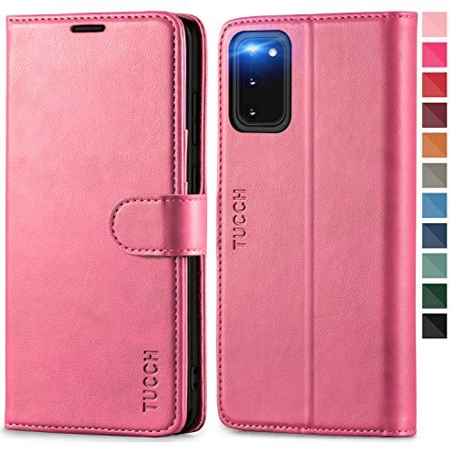 TUCCH Galaxy S20 Hülle, Stoßfeste Handyhülle [Verdicktes TPU] [RFID Schützt] [Kartenfächer] [Standfunktion] [Magnet], Schutzhülle Lederhülle Klapphülle Kompatibel für Samsung Galaxy S20 5G (6,2) Rosa