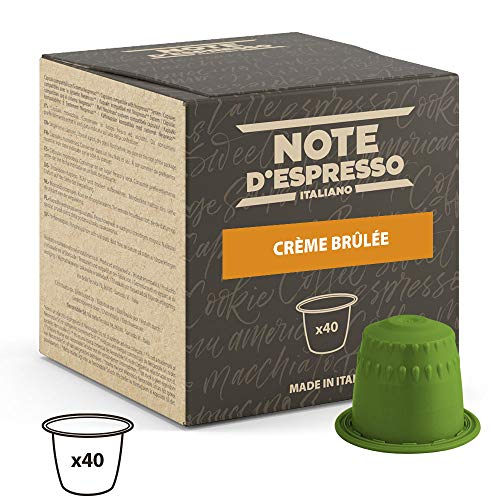 Note D'Espresso - Cápsulas de bebida de crème brûlée, 6g (caja de 40 unidades) Exclusivamente Compatible con cafeteras Nespresso*
