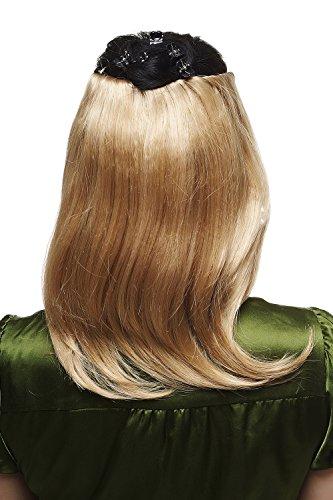 WIG ME UP ® - Extension clip-in 5 pinces, perruque 3/4 mi-perruque 35 cm, mi-longue hauteur d'épaules, lisse, blond doré N535-A-24B