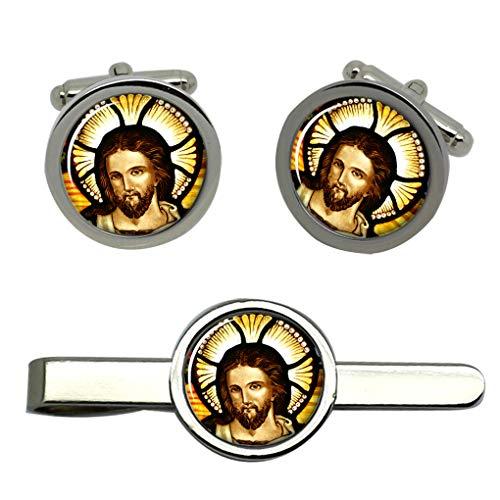 Jesus Christ icon Herren Manschettenknöpfe und tieslide Set