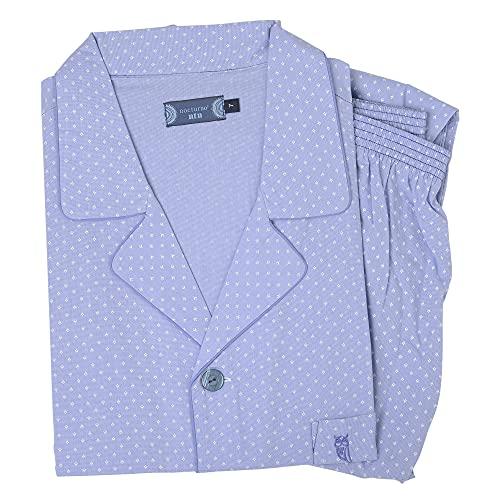 El Búho Nocturno - Pijama Hombre Largo Solapa Popelín Estampado Azul Claro 100% algodón Talla 7...