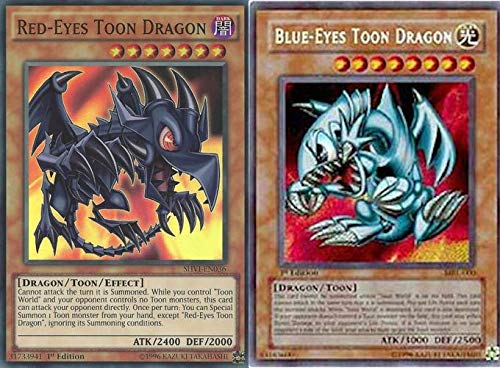 Yu-Gi-Oh! Blue Eyes Toon Dragon and Red-Eyes Toon Dragon!! Yu-Gi-Oh!! 100 Card lot with Rare Yugioh Cards Guaranteed!!