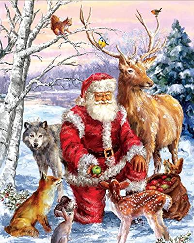 DIY Cross Stitch Kit Bordado a Mano Papá Noel y animales Bordado Punto de Cruz Contado Completo con Hilos y Tela a Mano Kits de Bordado decoración de la pared del hogar(40x50cm)