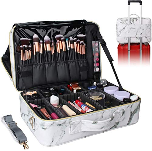 Relavel Makeup Bag Travel Makeup Train Case Large Cosmetic Case Professional Portable Makeup Brush Holder Organizer and Storage with Adjustable Dividers (marble white)