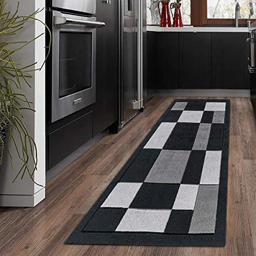 B&B Carpet Runners - 60 X 110 cm Heavy Duty Non Slip Washable Runner Rug For Kitchen - Door Matt Indoor Bedroom Door Mats - Black grey
