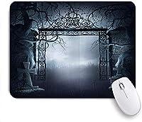 マウスパッド Mouse Pad Gothic The Gate of a Dark Old Haunted House Cemetery Non-Slip Rubber Base for Computers Laptops