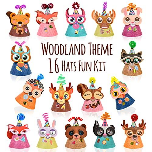 Kit de fabricación de sombreros de fiesta con temática de animales de bosque con tallos de chenilla y pegatinas. Actividades grupales, manualidades, suministros cumpleaños, Navidad, Pascua para niños