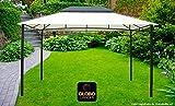 globolandia gazebo 3x4 da giardino con telo impermeabile ecrù chiaro in metallo e ferro nero satinato 4x3 metri antiruggine e doppio tetto anti vento grigio pali portanti 6x6 cm