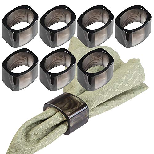 mDesign Modern Plastic Napkin Rings for Place Settings - Use at Home, Kitchen, Dining Room, Dinner Parties, Luncheons, Picnics, Holidays, Weddings, Buffet Table - 8 Pack - Tortoise Shell Black