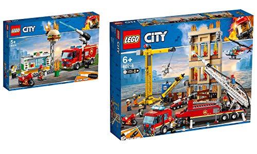 Steinchenwelt Lego® City 2er Set: 60214 Feuerwehreinsatz im Burger-Restaurant + 60216 Feuerwehr in der Stadt