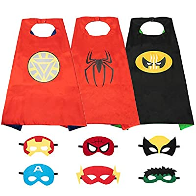 Superhero Capes Including Masks for Boys, Kids Dress up for Party, The Best Superhero Toys Gift for Halloween, Christmas, Birthday Party(3pcs,Double Sides)