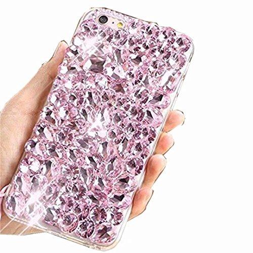 Miagon Glänzend Hülle für Huawei P40 Lite,3D Handschlaufe Glitzer Bling Strass Hülle Diamant Transparent Handyhülle Bumper Case Tasche Schutzhülle,Rosa