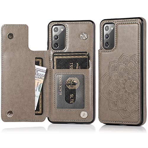Acxlife Samsung Galaxy Note 20 5G Case Note20 Card Credit Holder Wallet Protective Cover with Card Slot and Slim Leather Case for Samsung Note 20 (Grey)