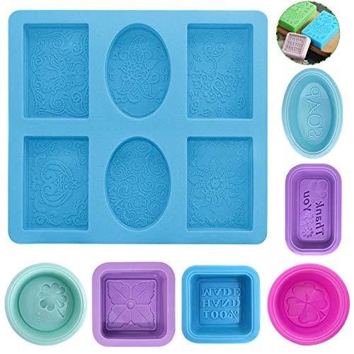 AIFUDA - Moldes de silicona antiadherentes para hacer jabón, 7 unidades, moldes para magdalenas, moldes para velas para manualidades caseras, color azul, rosa rojo, morado, verde claro