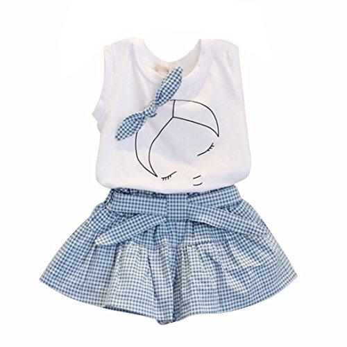 Ensembles de Bébé Filles - Mignon T-Shirt Bow Chemise de modèle de Fille Tops+ Shorts Ensemble Vêtements pour Enfant Fille 2-7 Ans Ba Zha Hei (130/6-7Ans, Blanc)