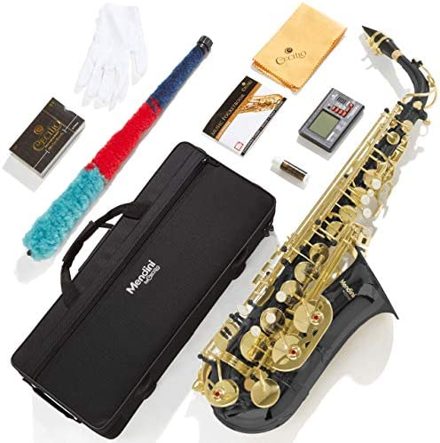 Mendini By Cecilio Eb Alto Saxophone - Instrument Case, Tuner, Mouthpiece, 10 Reeds, Pocketbook, Cloth & Gloves- MAS-L Gold Lacquer E Flat Sax (Saxophone Alto)