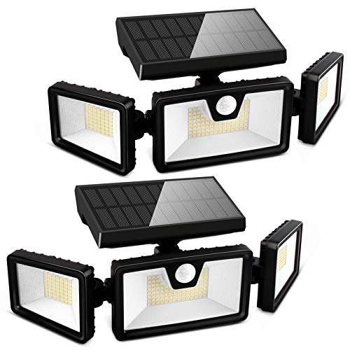 Otdair 188 LED Solar Lights Outdoor, 3 Modes Solar Motion Lights Outdoor, IP65 Waterproof Security Lights, Adjustable Super Bright Flood Lights for Garden Yard Garage Patio Pathway Black 2 Pcs