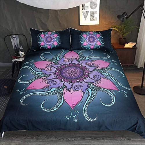 LOVE SUGER luxurious Duvet Cover Set Lotus Octopus Printing Bedding Set AUD180cmx211cm