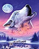 Runfar 5D Diamond Painting Kits for Adults Full Drill Wolf and Moon Square Rhinestone Embroidery Dotz Craft Cross Stich Gift Home Decor Large Size 40x50cm/16x20inch