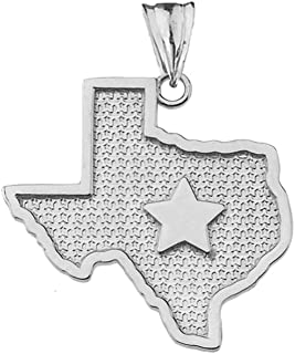 Fine Sterling Silver State Map of Texas and Lone Star Silhouette Charm Pendant
