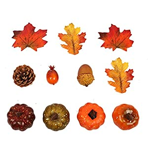 ALHONLY Mini Artificial Pumpkins, Pine Cones, Leaves, Acorns and Berries Fall Decorating Kit Thanksgiving Halloween Party Decor -11PCS