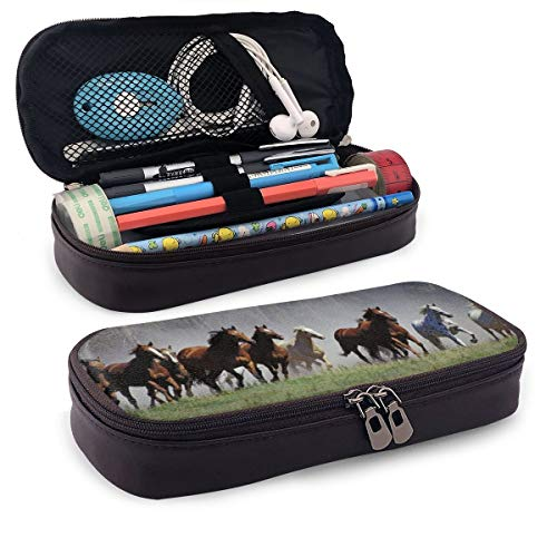 Roundup On The Ranch Montana Federmäppchen Federmäppchen Make-up Stifttasche Halter Box Organizer Durable Studenten Schreibwaren mit doppeltem Reißverschluss Stifthalter für Schule/Büro/Reisen